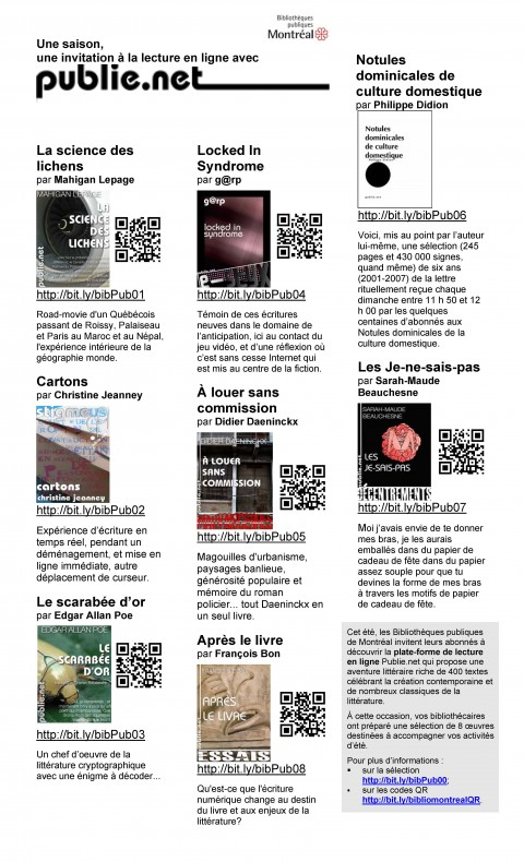 L'affiche d'une premire initiative faisant appel aux codes QR dans le rseau des Bibliothques publiques de Montral